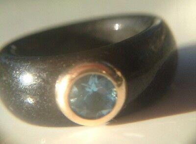 Black Onyx Band Ring With 14K Gold & Blue Topaz - Size 6 1/4