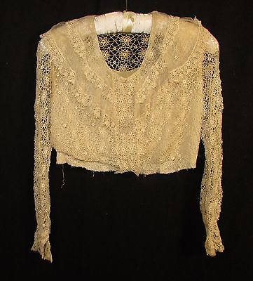 Edwardian Lace Blouse With Silk Lining, Ruffled Collar