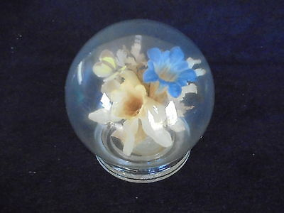 VINTAGE REAL PRESERVED FLOWERS & BUTTERFLY Glass Globe MICHAEL R CURZON English