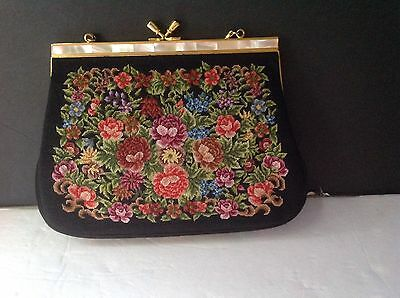 Magnificent Vintage PETIT POINT Mother Of Pearl Framed Purse  circa 1950's
