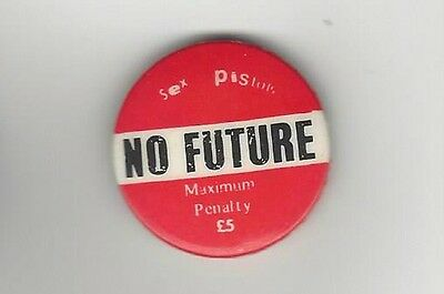 Sex Pistols 1977 No Future God Save the Queen Promo Pin, Pinback, Button, Badge