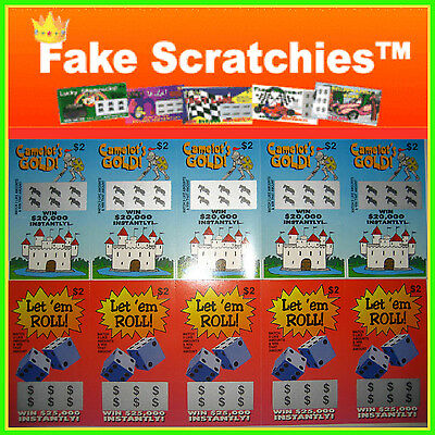 10 FAKE SCRATCHIES GAG GIFT | Camalots Gold & Let'em Roll $2 LOTTO SCRATCH CARDS