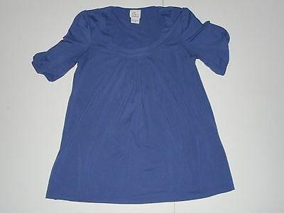 Oh Baby by Motherhood Solid Blue Maternity Short Sleeve Knit Top Size Medium