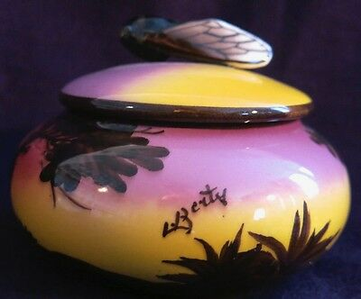 1930s French Deco.Cicada lid, airbrushed Pan&Dancers.Majolica. Signed Berty