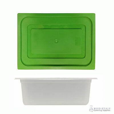 12x Food Pan with Green Lid 1/2 GN 200mm Half Size Polypropylene Gastronorm