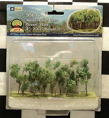 "Jtt Scenery 95616 Woods Edge Trees - Green  2"" - 2 1/2""  N-Scale  15 Per Pack"
