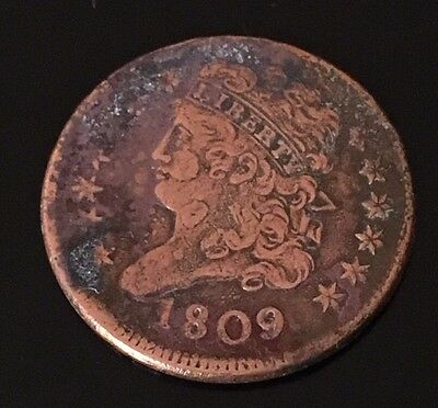 1809 US Half Cent Copper, Circulated, Ungraded, Liberty, American Coin