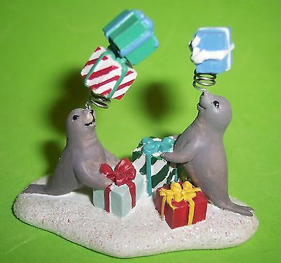 Hawthorne~Rudolph Christmas Town Village~Miniature Seals With Gifts