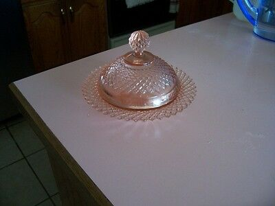 Miss America pink covered butter dish-reproduction