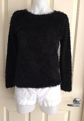 New! Black Soft Fluffy Long Sleeve Jumper From Ice Size Small (8)