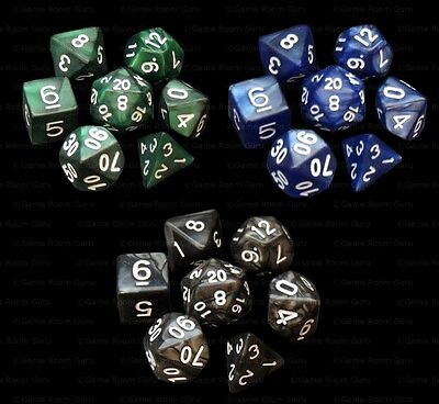 3 NEW Sets of 7 Polyhedral Dice - Blue Green Black Marble - 3 Dice Bags RPG