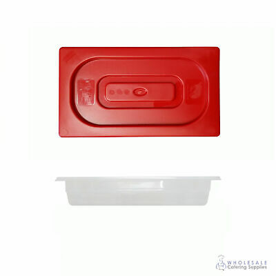 12x Food Pan with Red Lid 1/3 GN Size 65mm Deep Polypropylene Gastronorm
