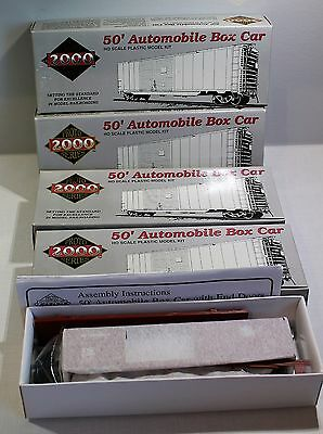 Lot Of 4 Bachmann Ho 50' Automobile Box Car Grand Trunk Western With End Doors 2