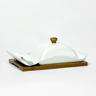 White Porcelain Butter Dish With Bamboo Base Ceramic Dining Table Serving Bowl
