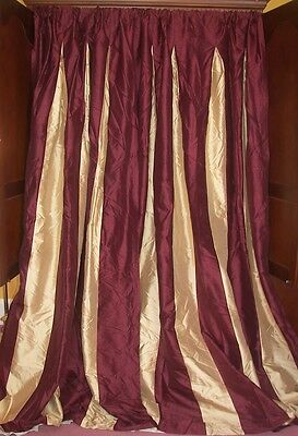 Vintage French Country Gold Burgundy Victorian Chic 100% Silk Drapes Curtains