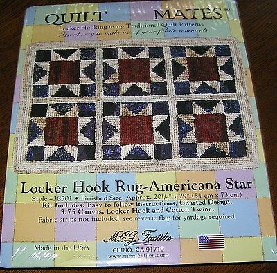 Locker Hook Kit Rug Canvas Quilt Pattern Use up Quilting Fabric Scraps Easy Fast