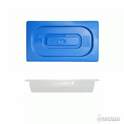 12x Food Pan with Blue Lid 1/3 GN Size 65mm Deep Polypropylene Gastronorm