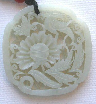 Chinese Nephrite Hetian Jade Carved Openwork Pendant Exceptional Details