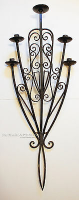 Mid Century Iron Wall Sconce Candle Spanish Revival Architectural Monumental
