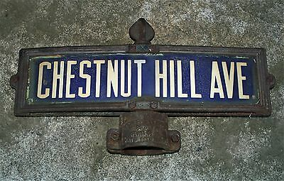 Antique Double Chestnut Hill Avenue Boston Porcelain Street Signs + C/i Post Mo