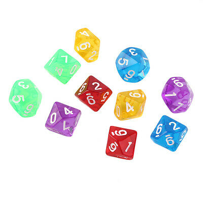 10pcs/Set Games Multi Sides Dice D10 Gaming Dices Game Playing 5 Color XP