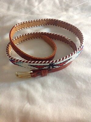 Native American Western Beaded Belt Souvenir Leather Thunderbird Arrow 38 1970