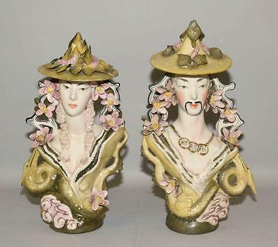 Pair of figural Asian sculptures. Asian couple decorated with lotus f... Lot 691