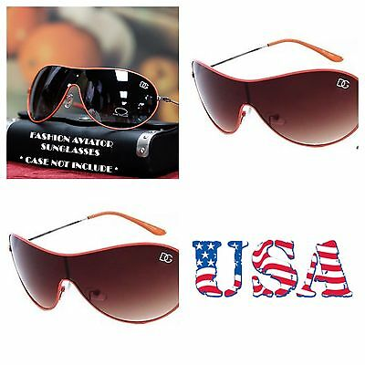 Men Women DG Eyewear Retro Shield Sport Sunglasses Bike UV Shades Avistor ORANGE