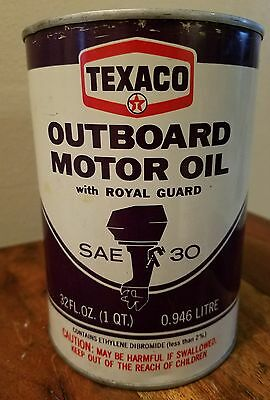 Vintage Advertising Texaco Outboard Motor Oil With Royal Guard Quart Can