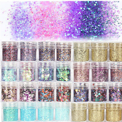 Nail Art Glitter Powder Kit Mix Acrylic Gel Sequins 3D Decoration DIY Manicure