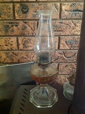 Antique Vintage Solid Glass Kerosene Oil Table Lamp Light