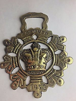 Vintage Brass Horse Bridle/Saddle Medallion Crowned 1953