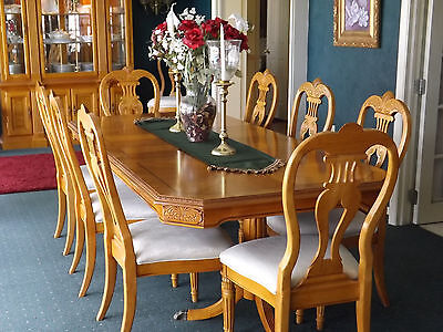 "Formal Oak Dining Room Set 13 pieces, 98"" dbl Ped table, 10 chairs, china cab."
