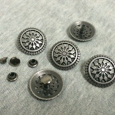 """5 ROUND Metal Rivet Studs 3/4"""" Leather Crafts 6mm (1/4"""") post (1029) Concho"""