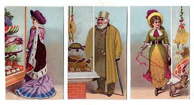 Lot of 3 1880s SCRAP CARDS picturing PEOPLE LOOKING IN WINDOW OF A FANCY GROCERY