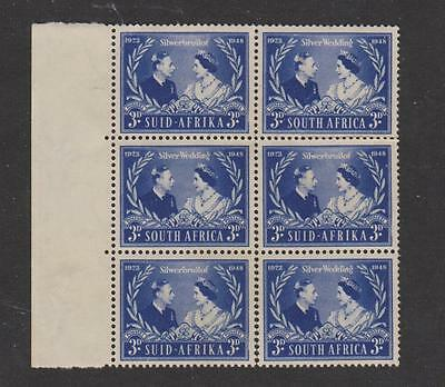 1948 South Africa SG#125  Silver  Wedding block of 6 MNH