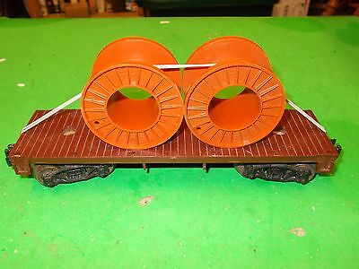 Lionel Postwar - 6402 Brown Flat Car with Cable Reels