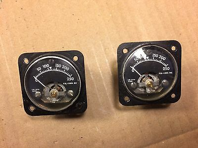 2 Vintage Marion DC Milliamperes Meters Measure 0-250 mA LB-515-5166 Gauges