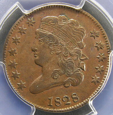 Half Cent 1828 PCGS AU50 12-Star Medium Brown  HC119