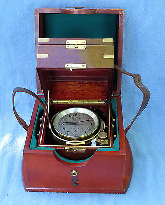 Hamilton Model 21 WWII Marine Chronometer with inner and outer carrying boxes.