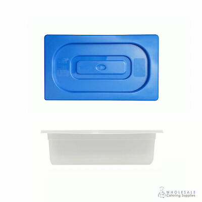 Food Pan with Blue Lid 1/3 GN Size 100mm Deep Polypropylene Gastronorm