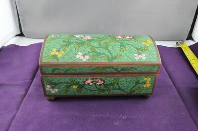 Antique Vintage 19th Cent Chinese Cloisonne Green & Floral Jewelry Trinket Box