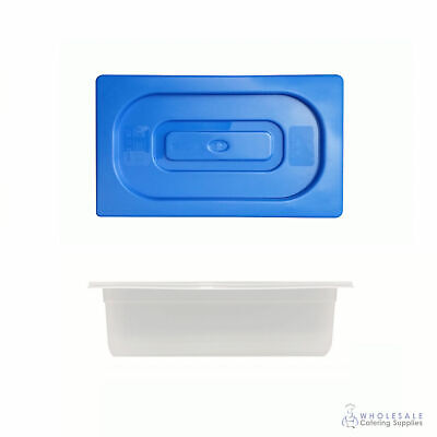 12x Food Pan with Blue Lid 1/3 GN Size 100mm Deep Polypropylene Gastronorm