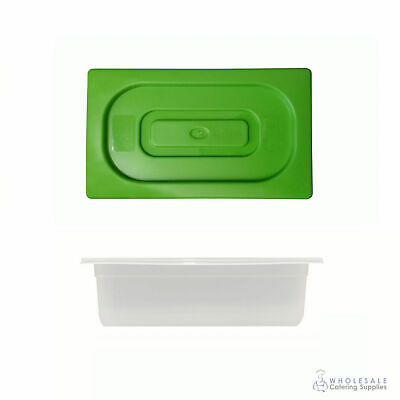 Food Pan with Green Lid 1/3 GN Size 100mm Deep Polypropylene Gastronorm