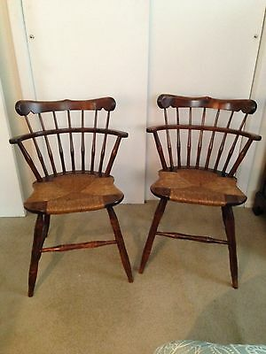 2 cane seat chairs dark wood finish antique used