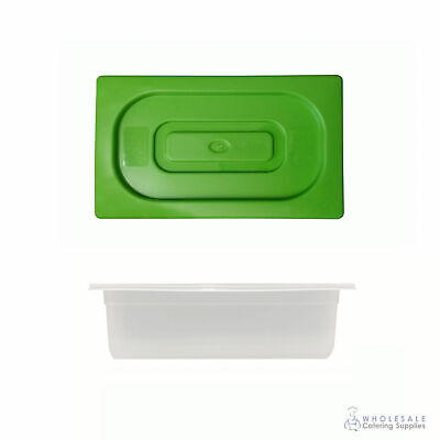 12x Food Pan with Green Lid 1/3 GN Size 100mm Deep Polypropylene Gastronorm
