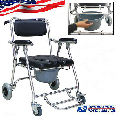 Transport Commode Toilet Bathroom Shower Wheel Chair Potty Disability Aid