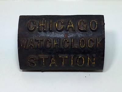 Antique Cast Iron Chicago Watchclock Station key and holder