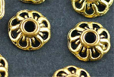 Wholesale Lot 200pcs Gold Tibet Silver Bead Caps For Jewelry Making 8mm