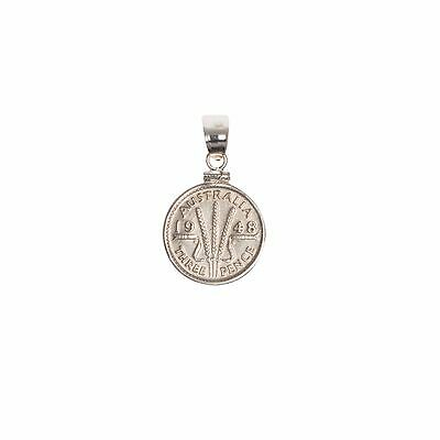 Australian Threepence Sterling Silver Coin Edge Bezel with Screw Top Bail